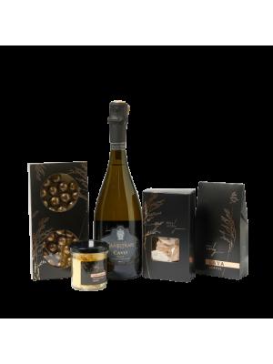 VIP dovanų rinkinys su putojančiu vynu, triufeliais, sūriu, kava, krekeriais